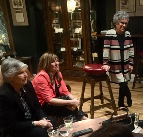 Rep. Lisa Cutter, center, joined members of Colorado Press Women to celebrate News Literacy Week 2020 at the Denver Press Club. She is flanked by Carol Anderson (seated) and Marilyn Saltzman. Photo by Ann Lockhart. News literacy